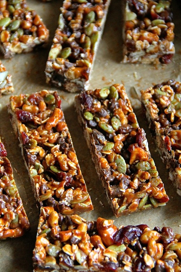 Sweet and Salty Trail Mix Granola Bars
