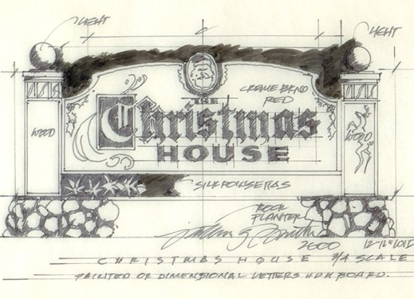 A hand drawn sketch for the Christmas House in Rancho Cucamonga