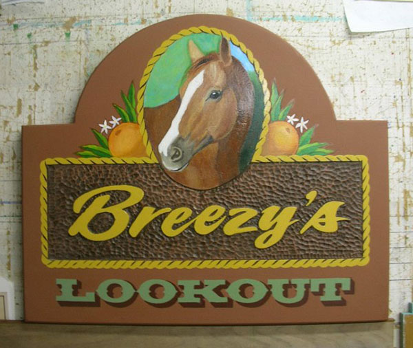 Exterior hand painted sign carved high density urethane