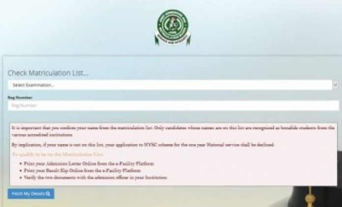 JAMB Matriculation List – How to Check Name On Jamb Matric List for NYSC