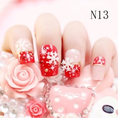 24pcs Bride Wedding 3d False Artificial Fake Nails Tips French Bow Lace Finger Colour13 Intl