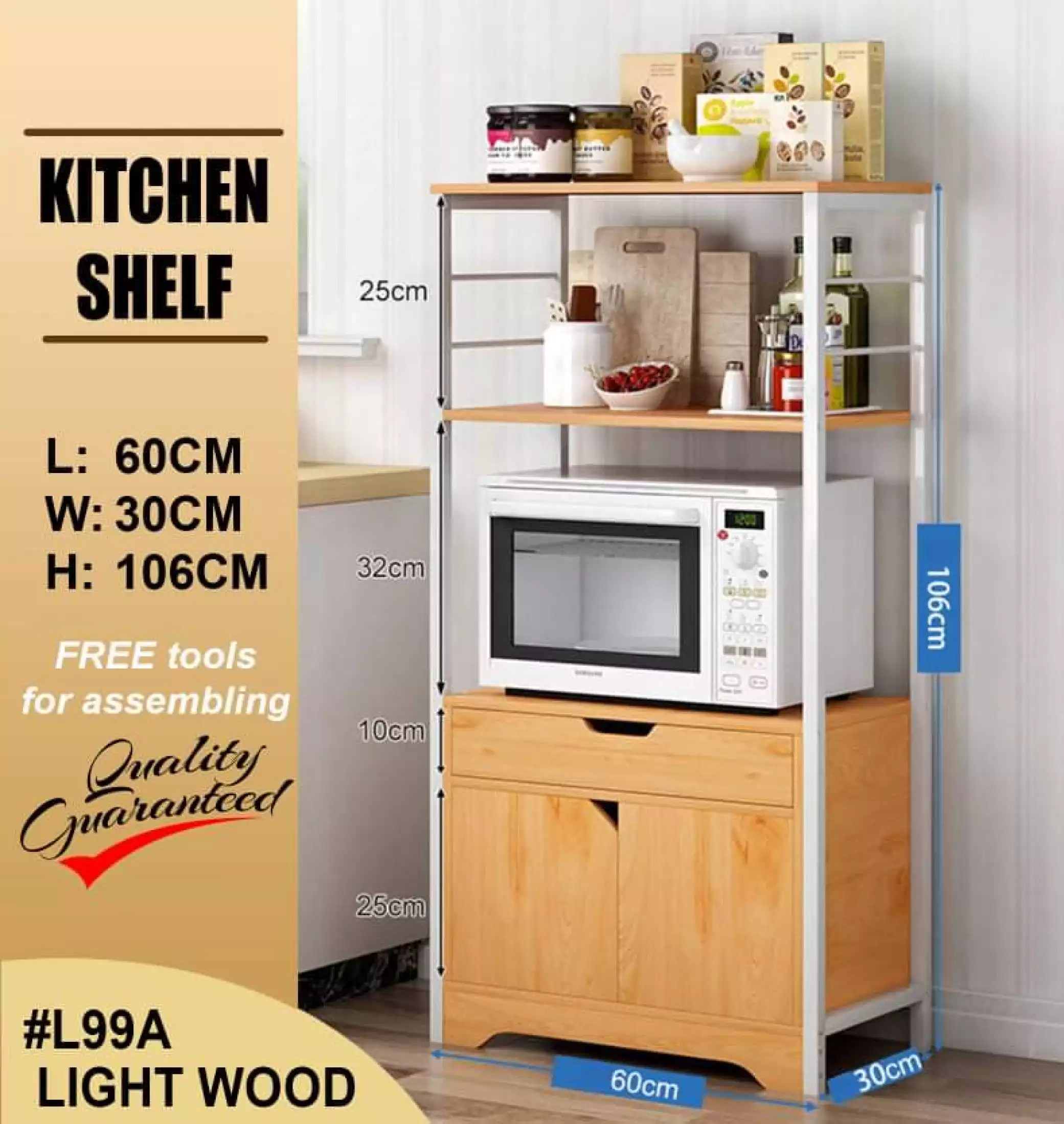 cod kitchen shelf microwave oven rack with cabinet and drawer 106cm