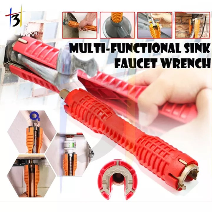 faucet and wrench installer multifunctional wrench plumbing tool for toilet bowl sink bathroom kitchen repair and installation tools 9102