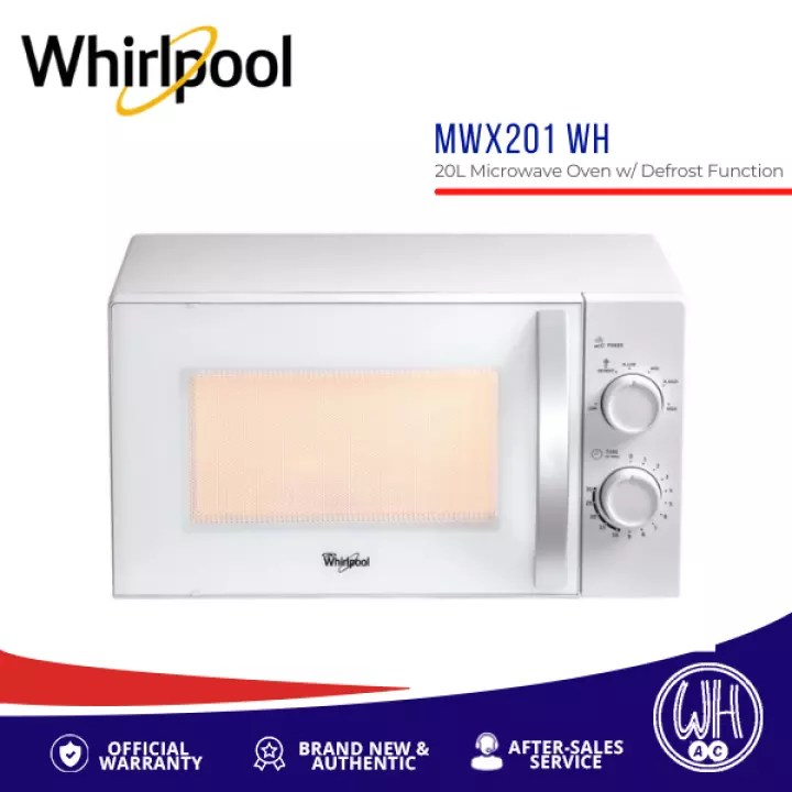 whirlpool 20l microwave oven with defrost function mwx201 wh white