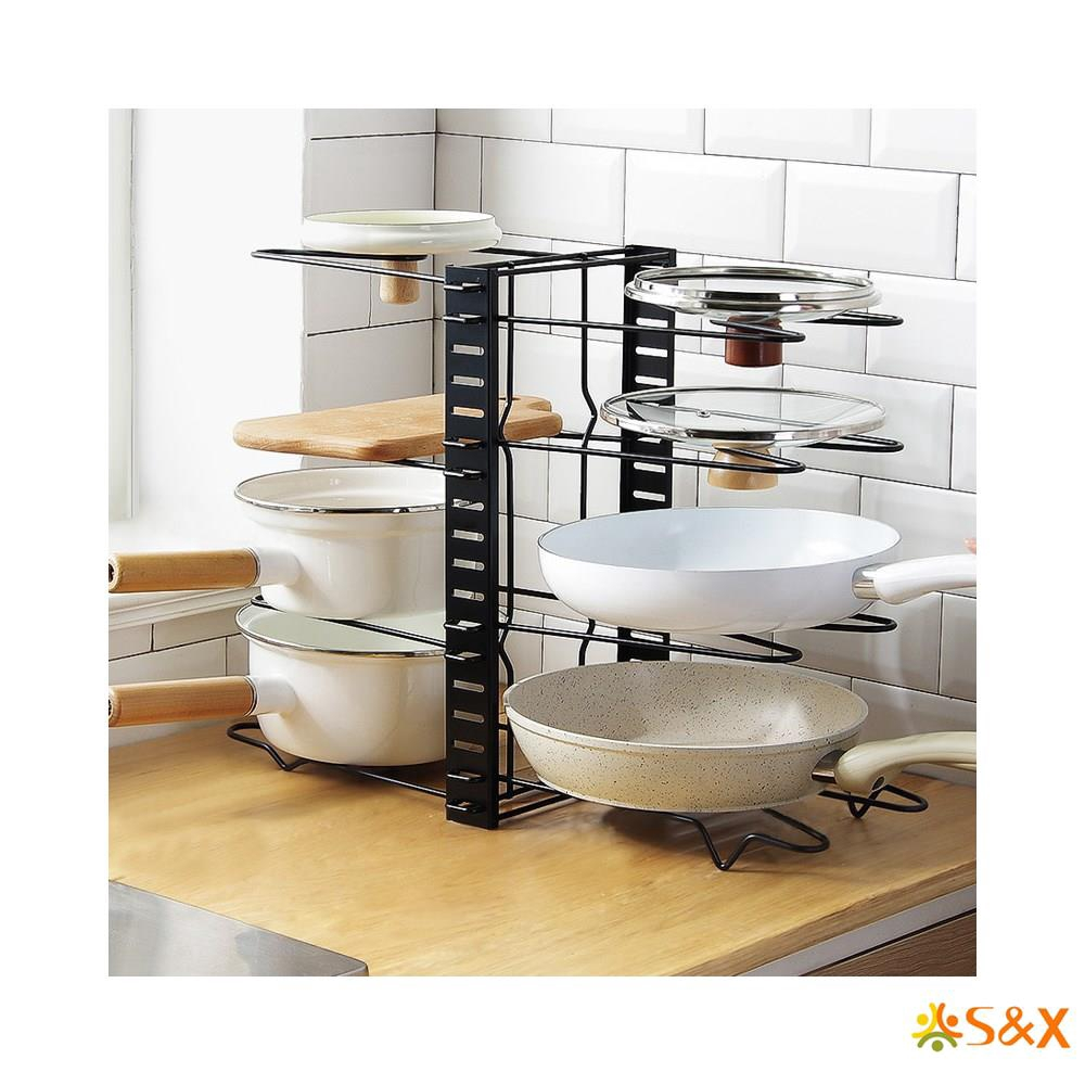 multilayer and foldable pan storage rack and kitchen organizer for storage of pot lid and pans pot rack organizer adjustable 8 pots and pans