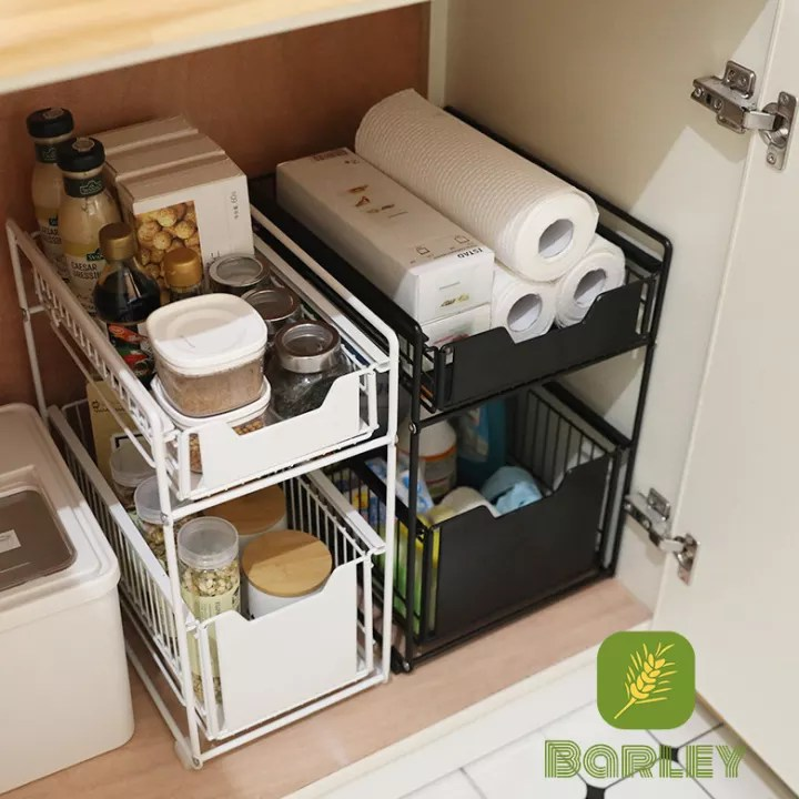 under the kitchen sink storage rack drawer type can be pushed and pulled under the cabinet telescopic double shelf