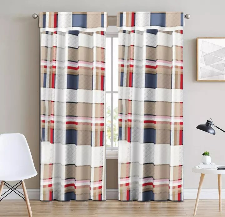 new 1pc 140 180cm multicolor box stripe design string modern high quality for living room bedroom window curtain c202043