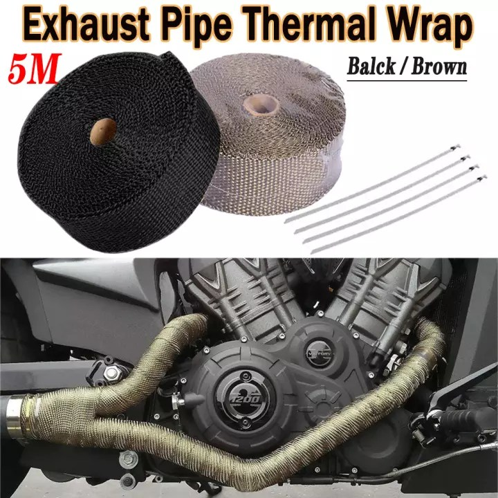 e m 5 meters titanium exhaust heat wrap heat shield tape for titanium motorcycle exhaust tape thermal protection black brown