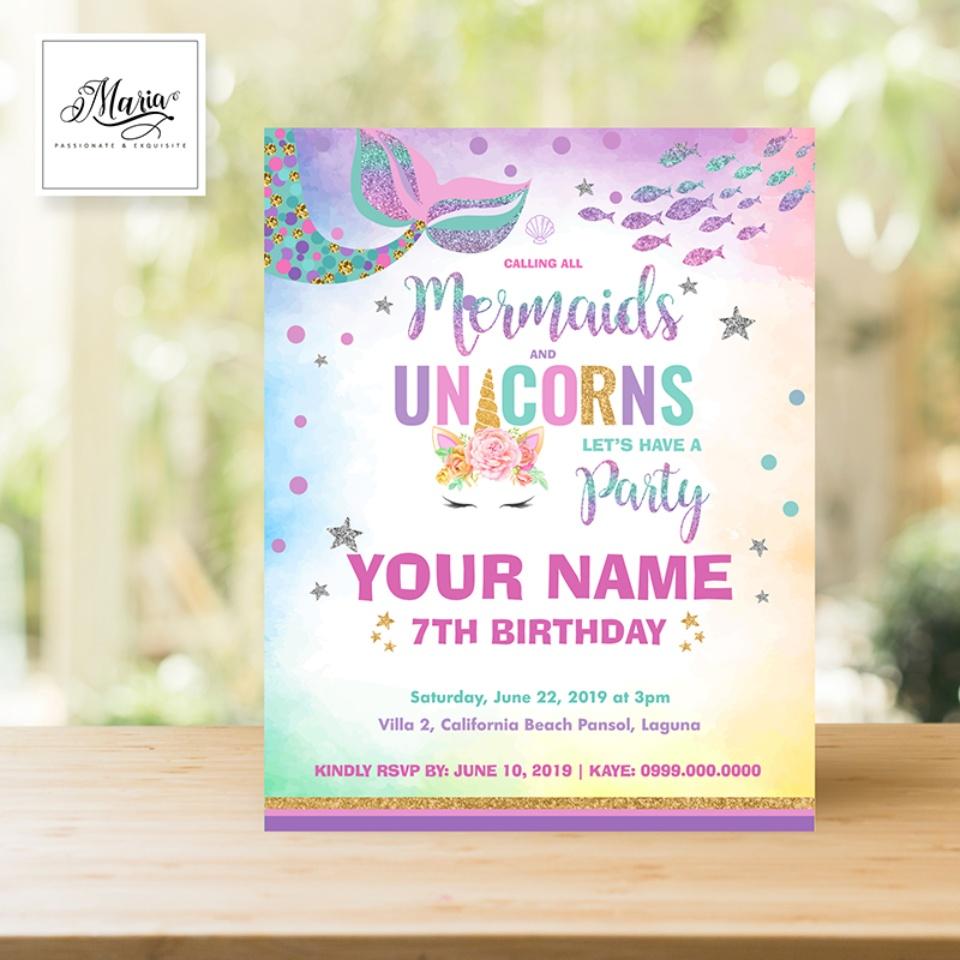 mermaid and unicorn birthday invitation card set of 14 personalised invitation for birthday christening baptismal