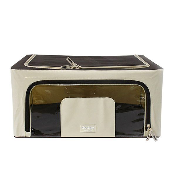 Basic Foldable Storage Box 40L (Fabric, Wire, Brown Color)