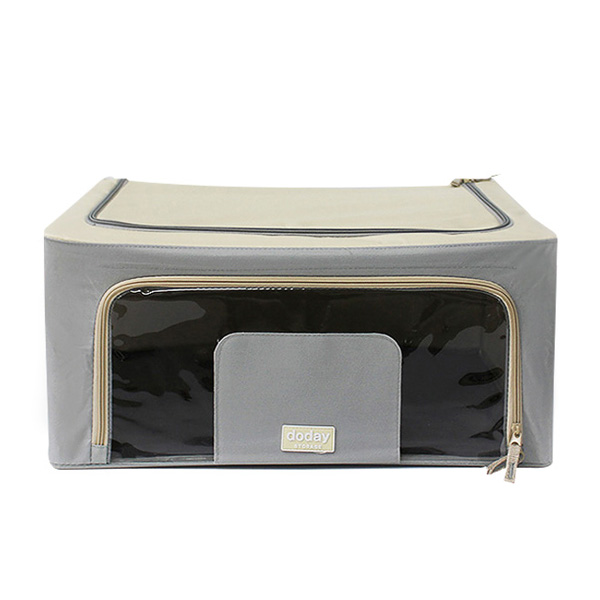 Modern Foldable Storage Box 40L (Fabric, Wire, Gray Color)