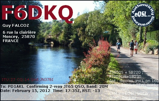 QSL card from F6DKQ