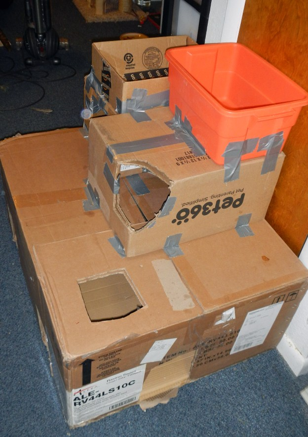 Andy and Dougy's new, improved box pile,
