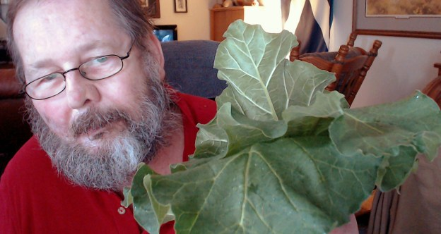 Selfie with rhubarb. Yep, there I am again wearing a red shirt! It's one of those Nebraska things.