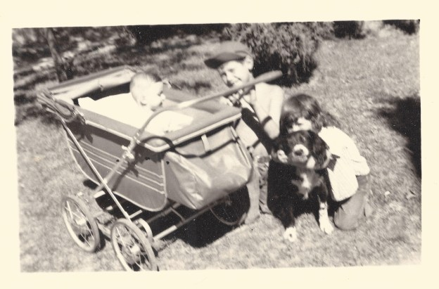 That's me in the buggy. Richard and Kathy, my other siblings treated me well.