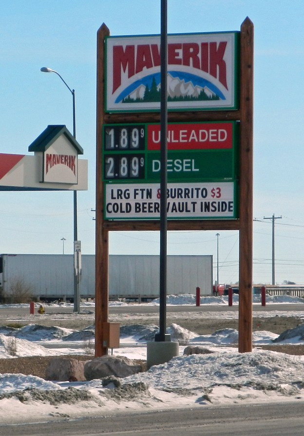 "It's cheaper than where I buy gasoline, but not the cheapest place in town. It sits across from a sister station to the one where I buy gasoline. The sister station's price sign was, um, ""not working""."