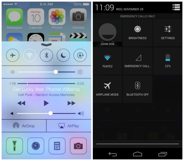 Android 4.2 vs iOS 7 quick settings