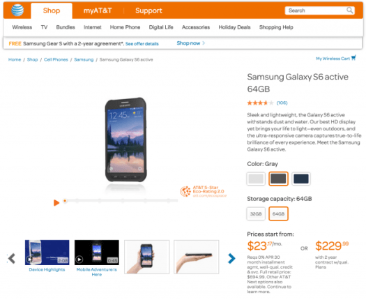 Galaxy S6 Active ATT Samsung