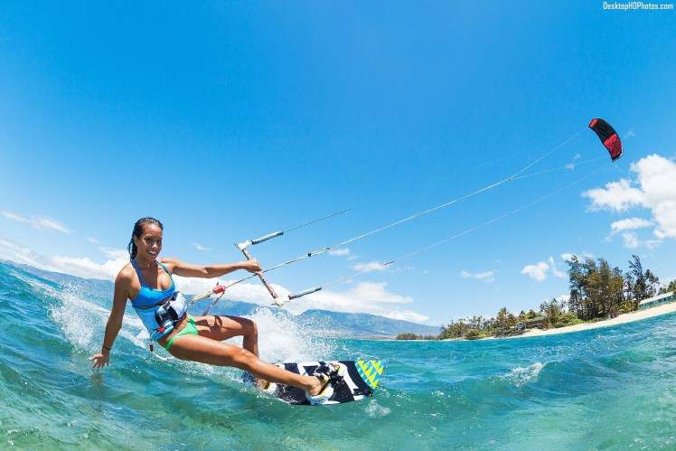 Women-Kite-Surfing-On-Beach-Photos