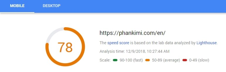 optimize google pagespeed score mobile result