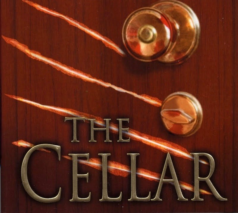 """Cover design for """"The Cellar,"""" featuring a door knob and claw marks."""