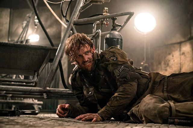 Corporal Ford (Wyatt Russell) prepares to fight a Nazi in Overlord.