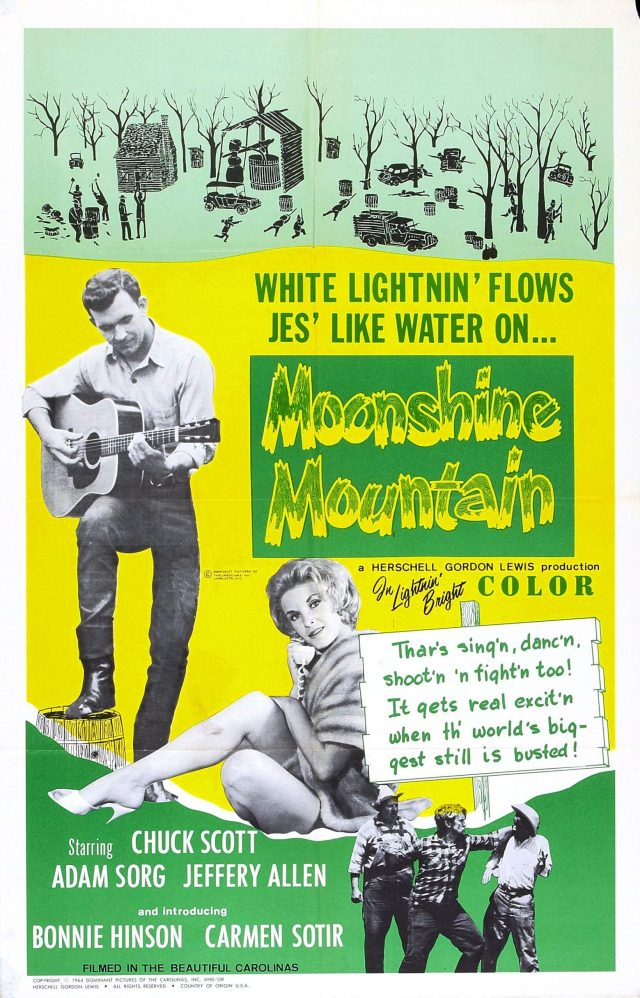 "Movie poster for ""Moonshine Mountain,"" featuring a collage of illustration and photos of its stars playing a guitar and talking on the telephone."