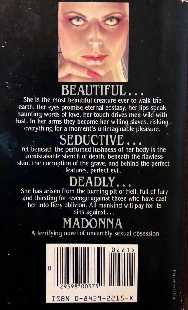 """Back cover of Kelleher and Vidal's book """"Madonna"""" with the mysterious pull quote """"Beautiful, seductive, deadly Madonna."""""""