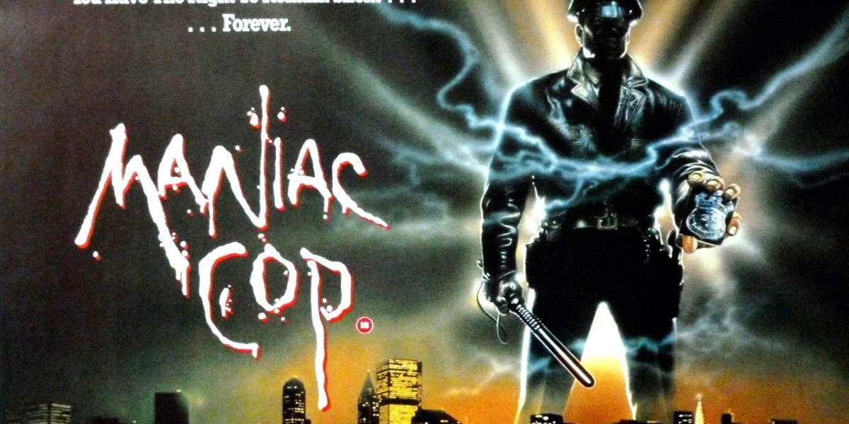 "An illustrated movie poster for ""Maniac Cop"" featuring a back lit police officer holding out his badge with blue lightening exploding from the metal."