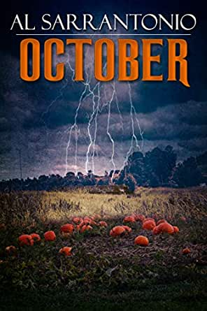 """The Amazon ebook cover for """"October"""" has lightening raining down from an angry gray sky onto a pumpkin patch in the middle of a yellow field."""
