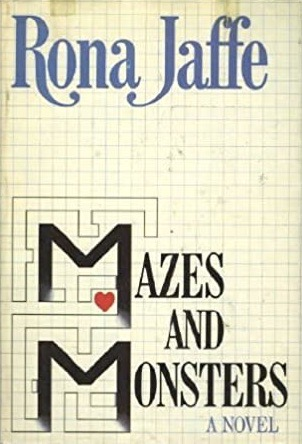"""Front cover for the book """"Mazes and Monsters,"""" which has been designed to look like graph paper with a few pencil outlines depicting a maze in the bottom left corner."""
