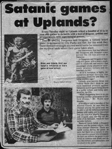 """A scanned newspaper article from the 1980s with the headline """"Satanic games at Uplands?"""""""