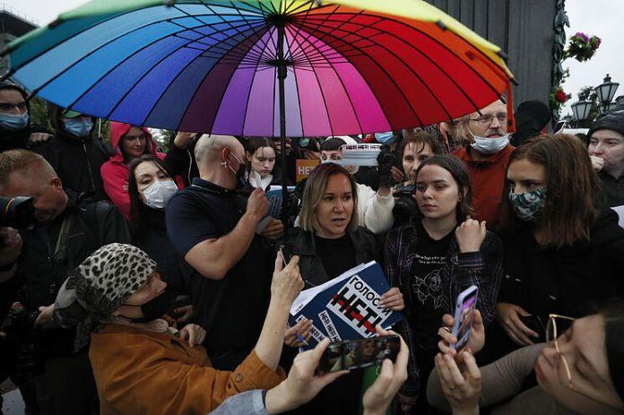 Manifestación en la plaza Pushkinskaya, en Moscú.
