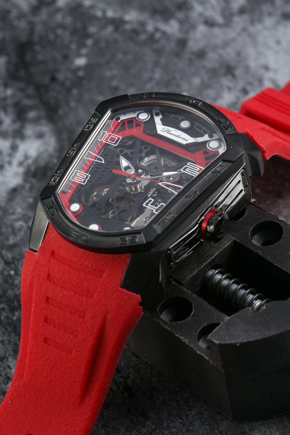 Ember Blade Futuristic Mechanical Skeleton Watch
