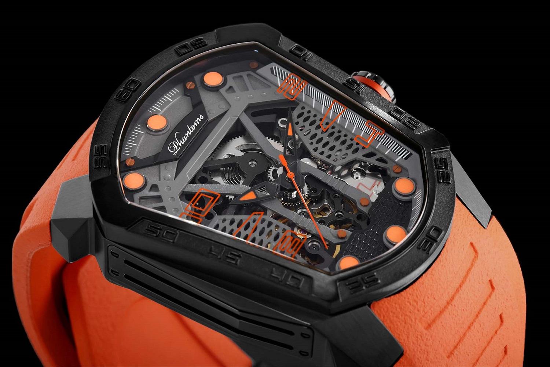 Haunted Blade mechanical watch white automatic watch phantoms tourbillon orange strap