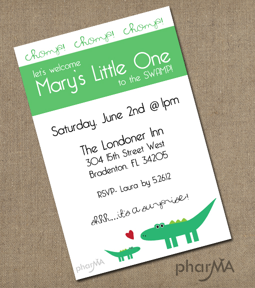Alligator Baby Shower Invitation, UF Gator Baby Shower Invitation