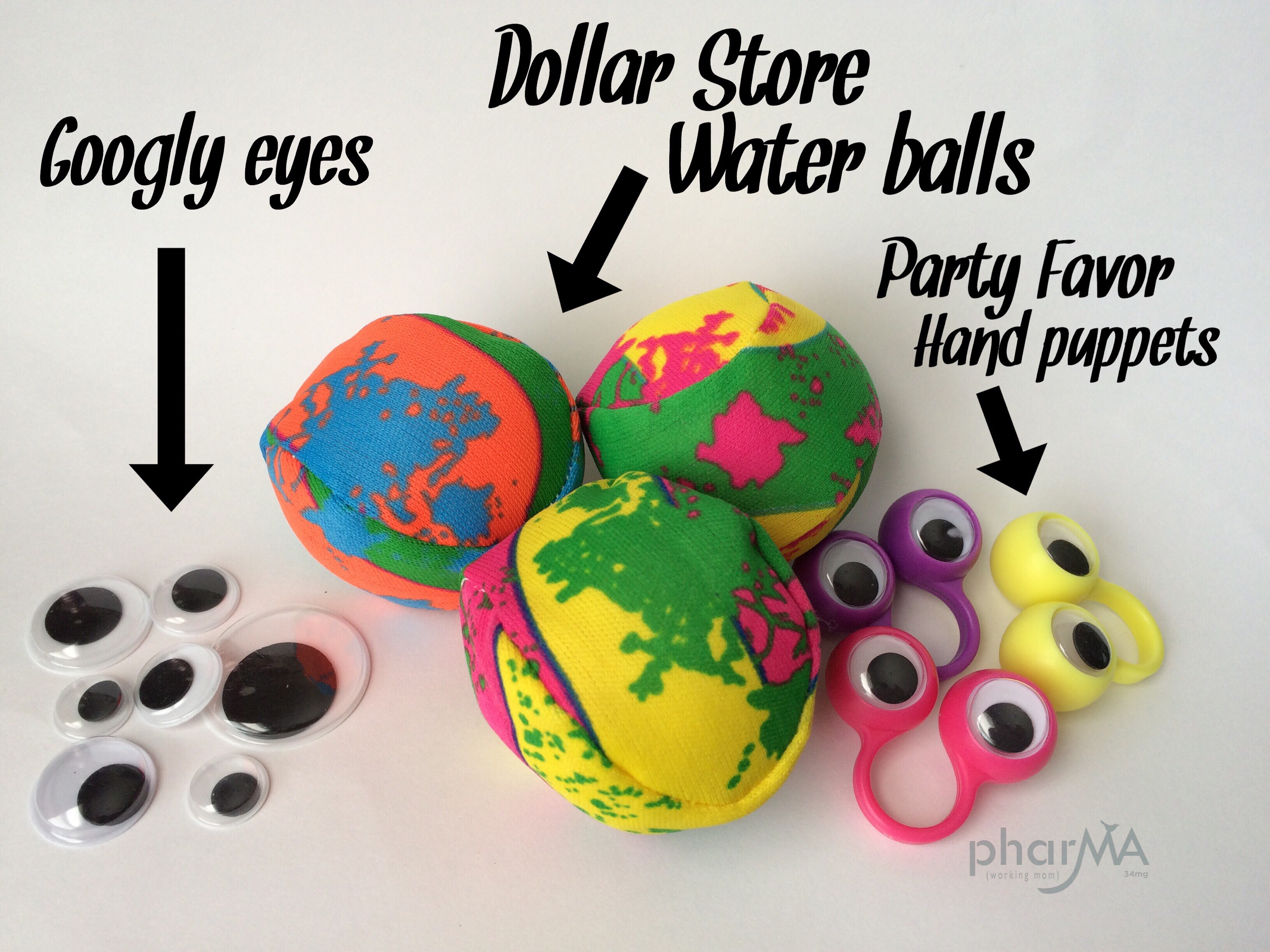 Monster Party, monster plush, stuffed monster, halloween party favor , Dollar store crafts