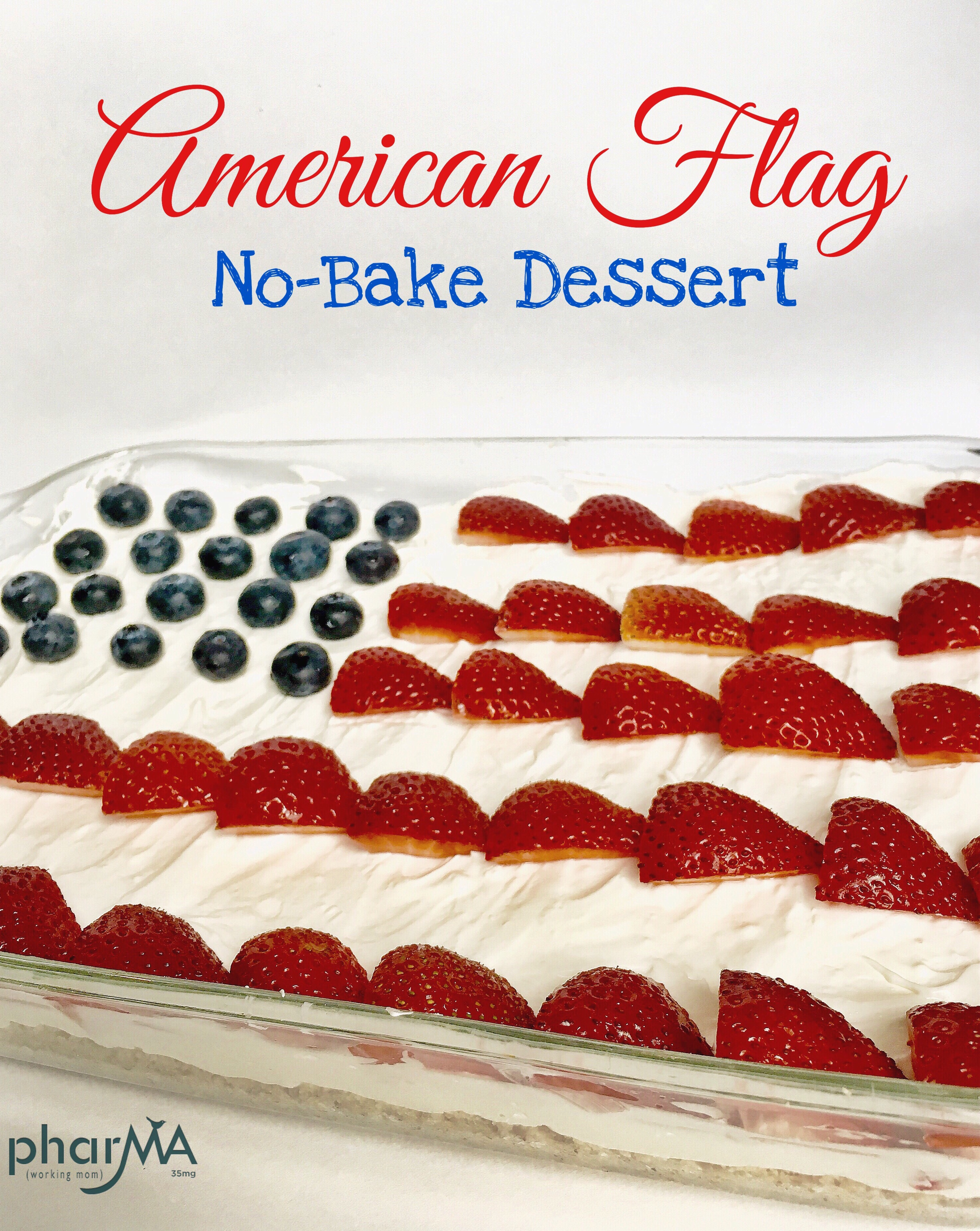 Fourth of July Cake, Red, White, and Blue Dessert, no-bake pretzel cheesecake