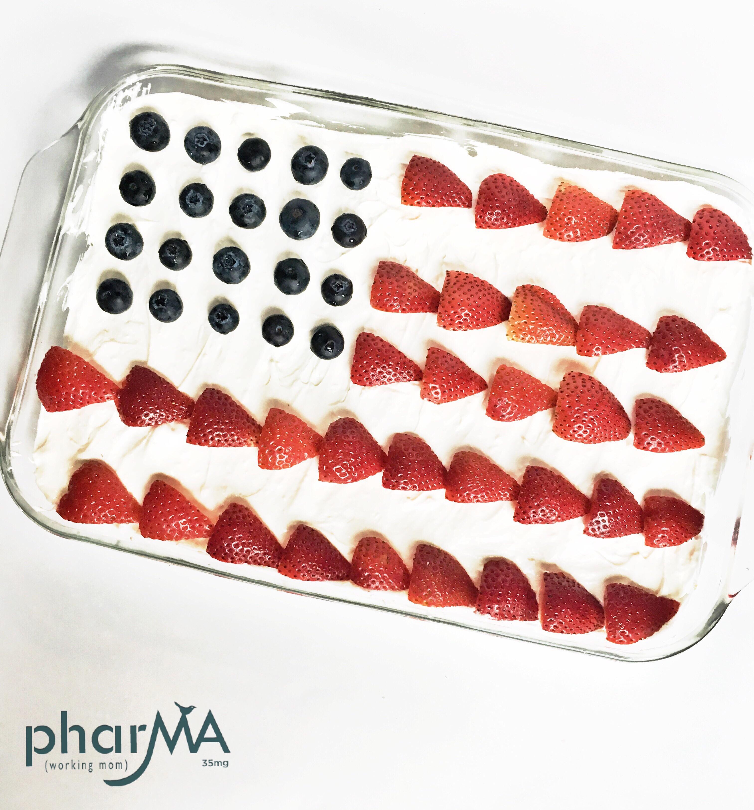 Fourth of July Cake, Red, White, and Blue Dessert, no-bake pretzel cheesecake