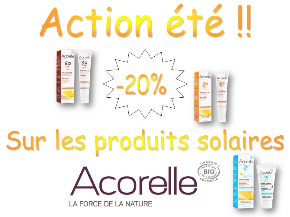 produits solaires de la marque acorelle en action -20 %
