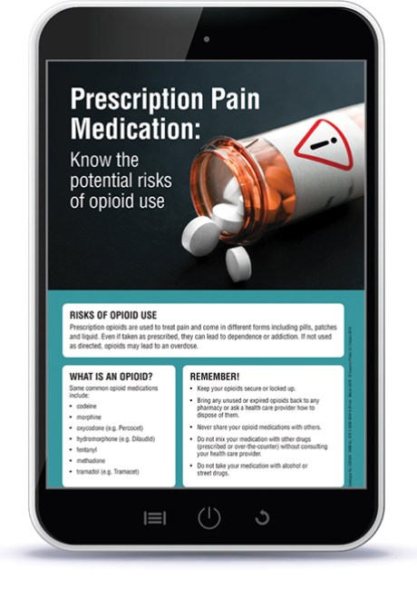 Tablet with opioid poster