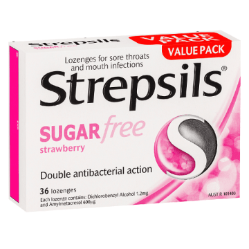 Strepsils Sugar Free Strawberry Lozenges 36`s