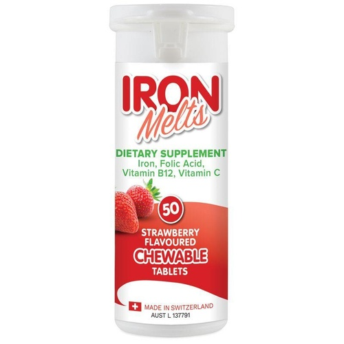 Iron Melts 50 Chewable Tablets Strawberry Flavoured