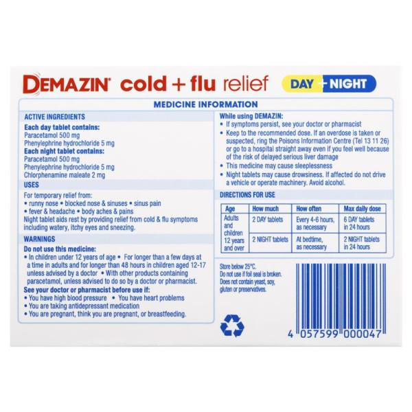 Demazin Cold & Flu Relief Day + Night 24 Tablets 5