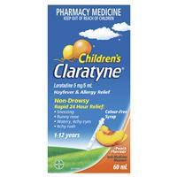 Claratyne Hayfever & Allergy Relief Peach Flavoured Syrup 60ml 5