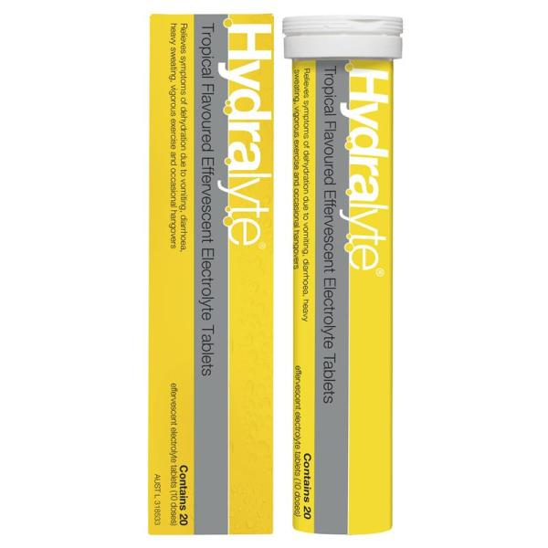 Hydralyte Effervescent Tropical 20 Tablets 12