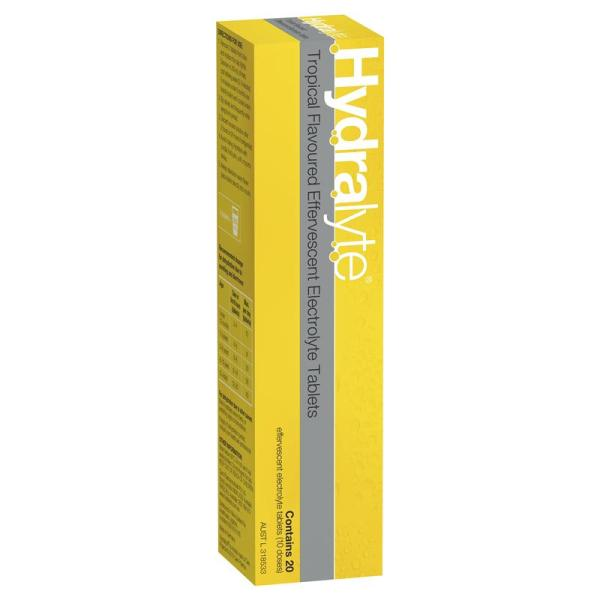 Hydralyte Effervescent Tropical 20 Tablets 10