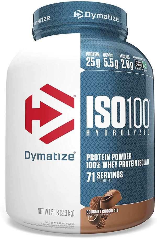 Dymatize Nutrition ISO 100, Whey Protein Isolate, Gourmet Chocolate, 5 lbs