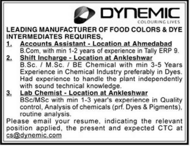 Dynemic Colouring Lives Hiring Bsc Msc Btech Bcom for Accounts Assistant Shift Incharge Lab Chemist