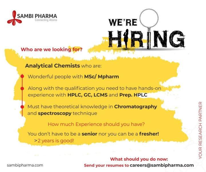 Sambi Pharma Hiring Msc Mpharma for Analytical Chemists Freshers And Experienced